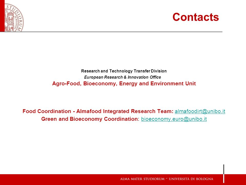 Contacts Agro-Food, Bioeconomy, Energy and Environment Unit