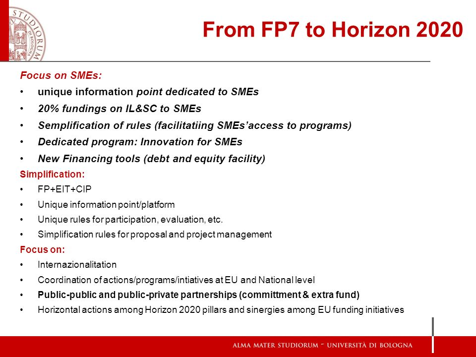 From FP7 to Horizon 2020 Focus on SMEs: