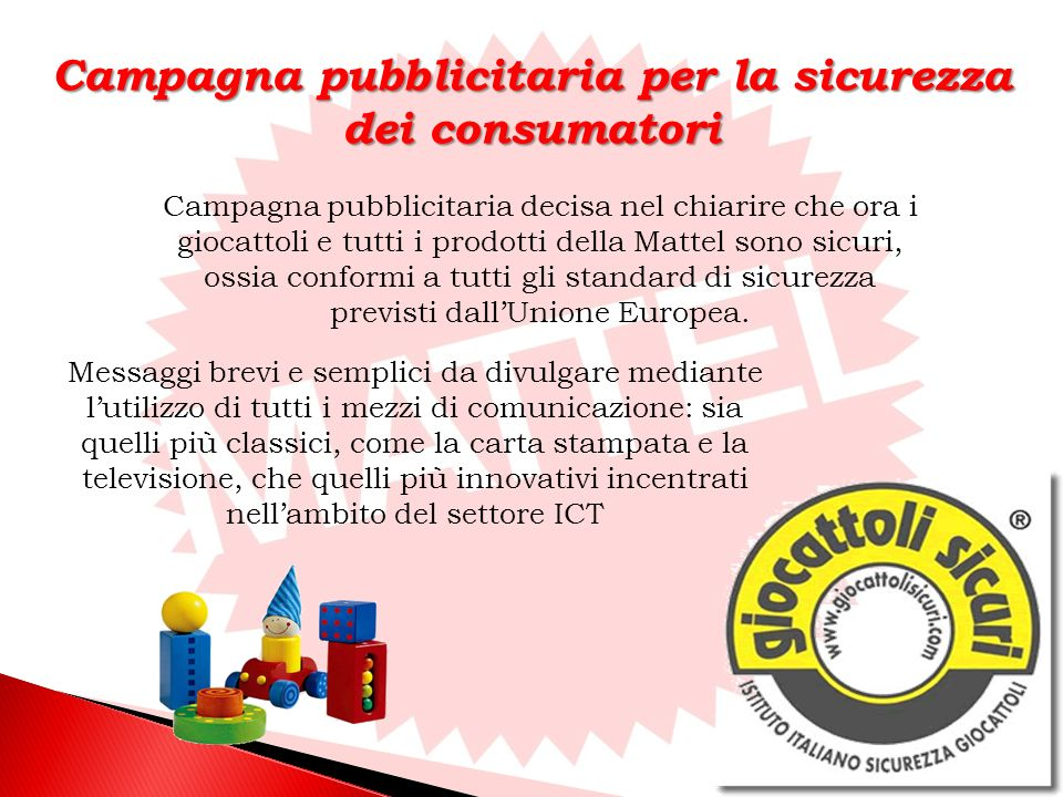 Campagna pubblicitaria per la sicurezza dei consumatori