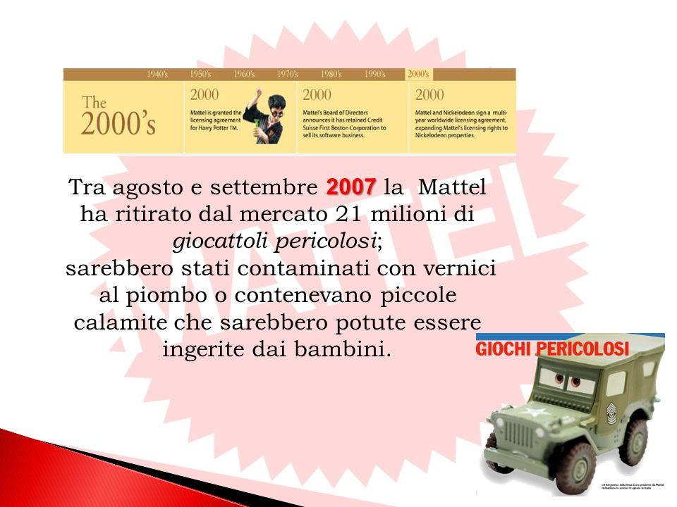 Tra agosto e settembre 2007 la Mattel ha ritirato dal mercato 21 milioni di giocattoli pericolosi;