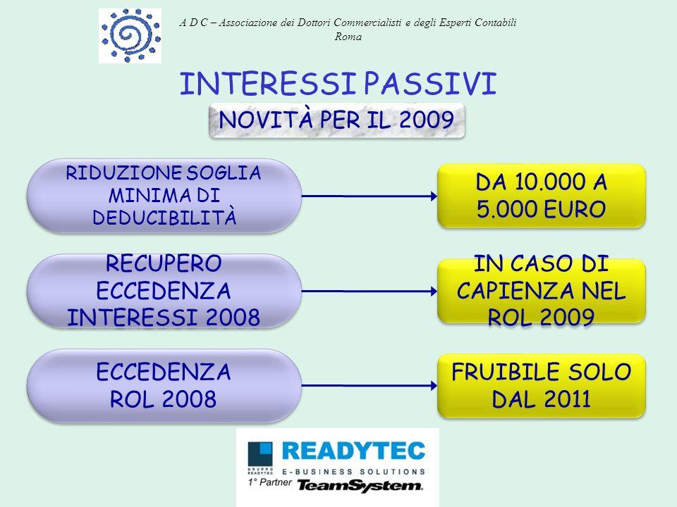 INTERESSI PASSIVI NOVITÀ PER IL 2009 DA 10.000 A 5.000 EURO