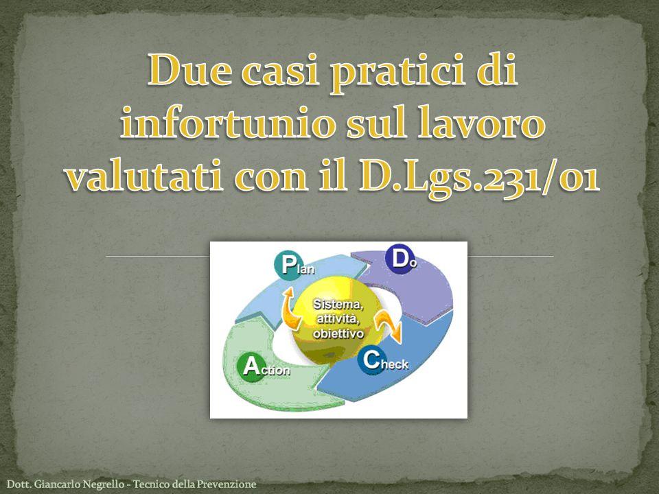 Due casi pratici di infortunio sul lavoro valutati con il D.Lgs.231/01