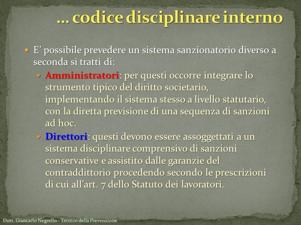 … codice disciplinare interno
