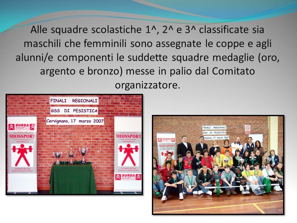 Alle squadre scolastiche 1^, 2^ e 3^ classificate sia maschili che femminili sono assegnate le coppe e agli alunni/e componenti le suddette squadre medaglie (oro, argento e bronzo) messe in palio dal Comitato organizzatore.