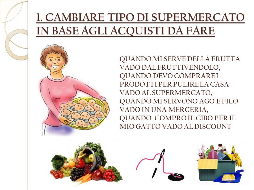 1. CAMBIARE TIPO DI SUPERMERCATO IN BASE AGLI ACQUISTI DA FARE