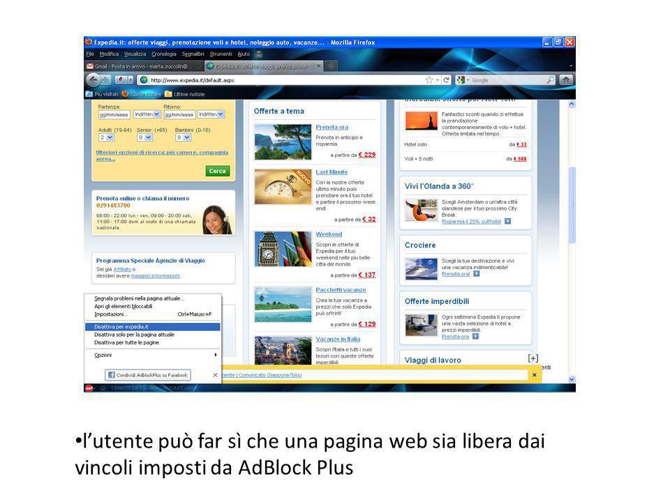 l'utente può far sì che una pagina web sia libera dai vincoli imposti da AdBlock Plus