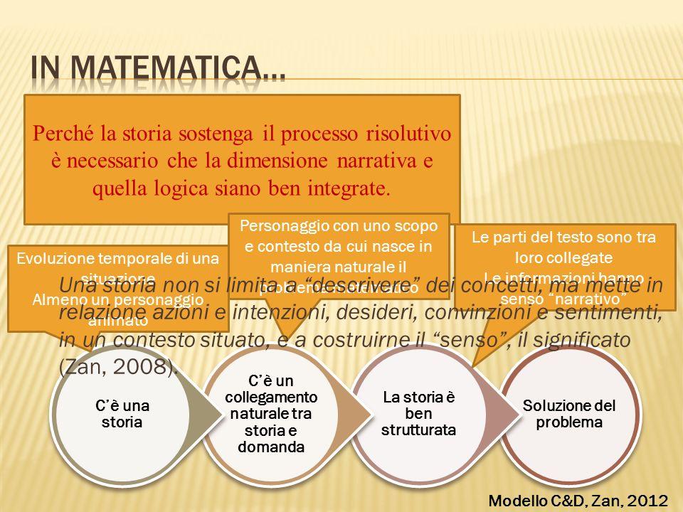 In matematica… Perché la storia sostenga il processo risolutivo è necessario che la dimensione narrativa e quella logica siano ben integrate.
