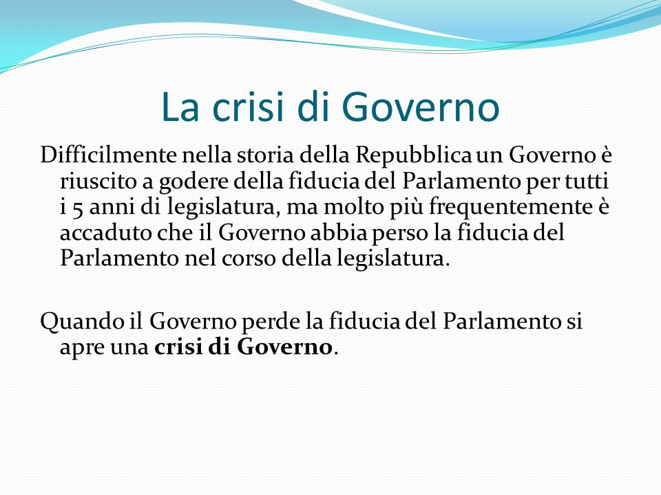 La crisi di Governo