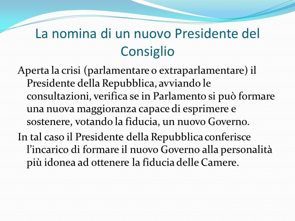 La nomina di un nuovo Presidente del Consiglio