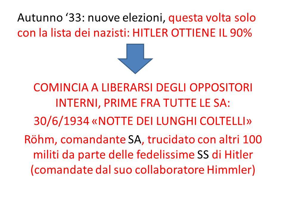 Autunno '33: nuove elezioni, questa volta solo con la lista dei nazisti: HITLER OTTIENE IL 90% COMINCIA A LIBERARSI DEGLI OPPOSITORI INTERNI, PRIME FRA TUTTE LE SA: 30/6/1934 «NOTTE DEI LUNGHI COLTELLI» Röhm, comandante SA, trucidato con altri 100 militi da parte delle fedelissime SS di Hitler (comandate dal suo collaboratore Himmler)