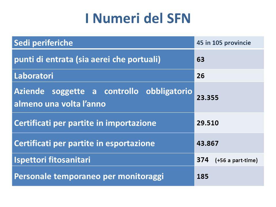 I Numeri del SFN Sedi periferiche