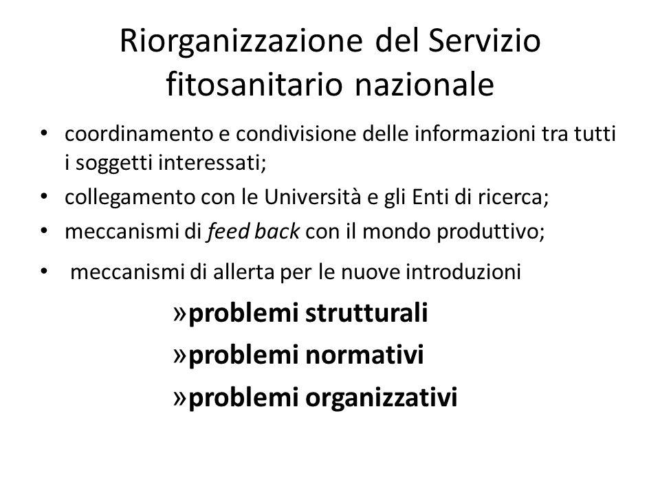 Riorganizzazione del Servizio fitosanitario nazionale