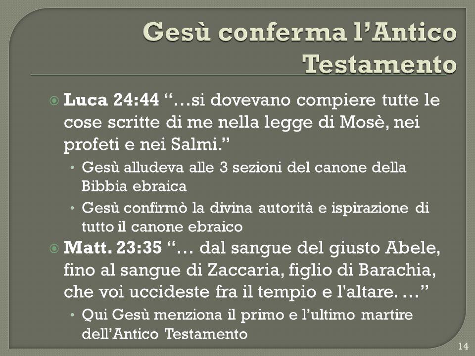 Gesù conferma l'Antico Testamento