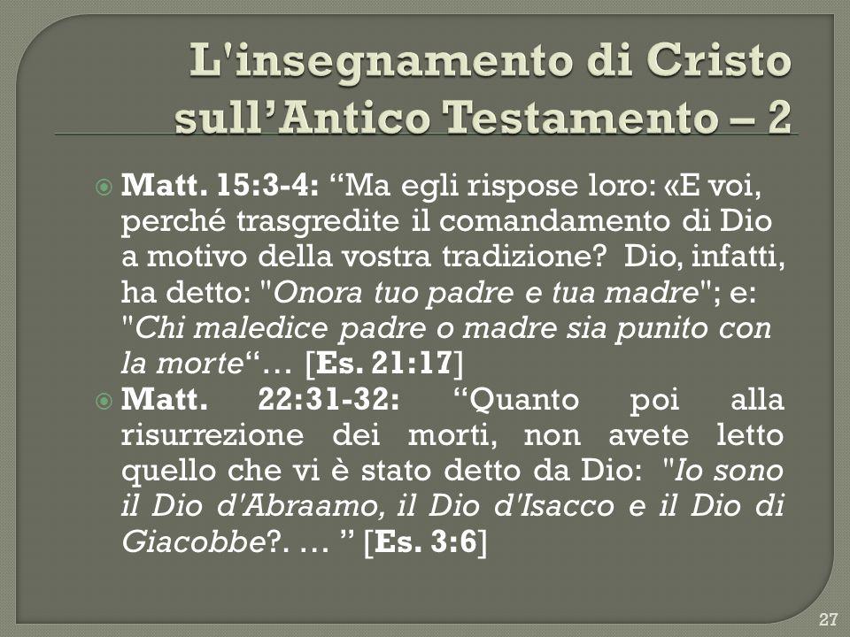 L insegnamento di Cristo sull'Antico Testamento – 2