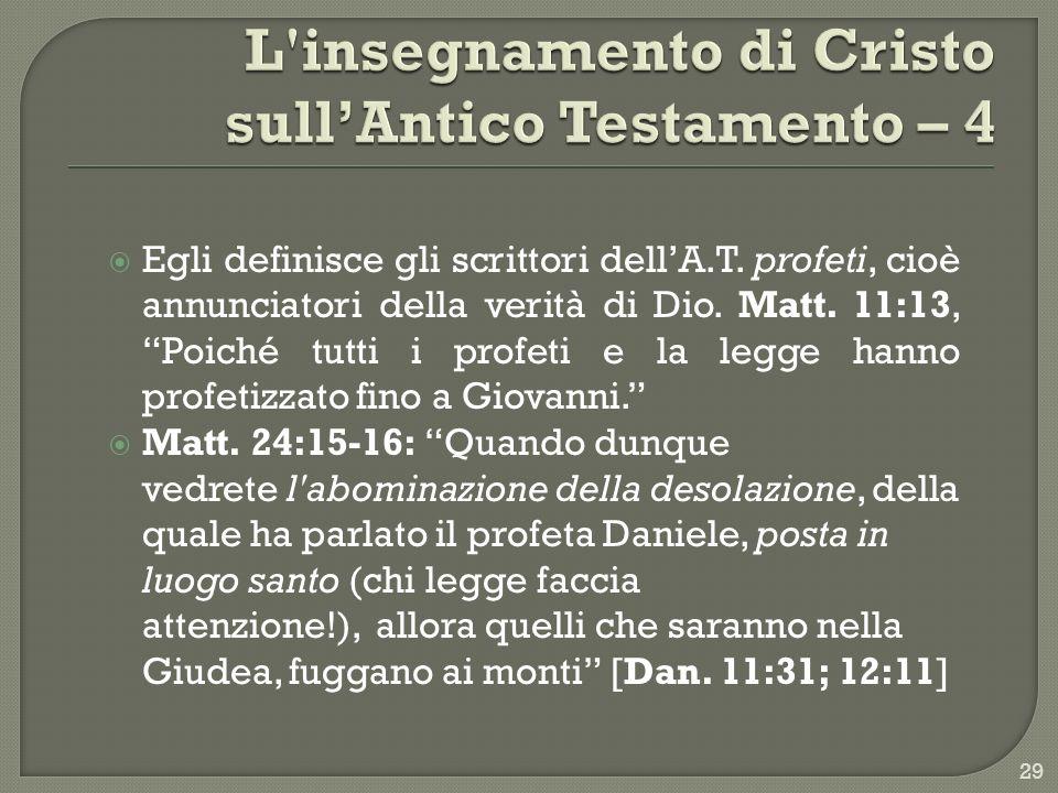 L insegnamento di Cristo sull'Antico Testamento – 4