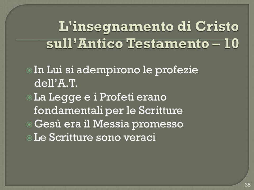L insegnamento di Cristo sull'Antico Testamento – 10