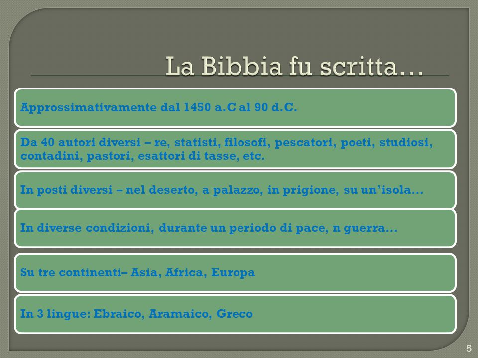 La Bibbia fu scritta… Is The Bible God s Word @ Dr. Heinz Lycklama