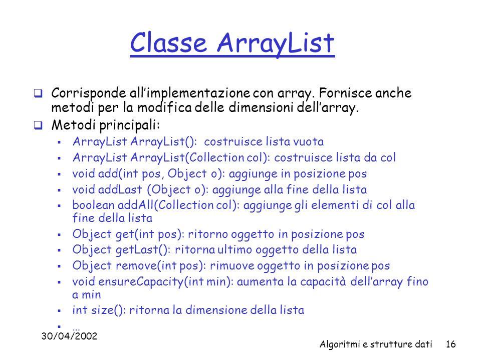 Classe ArrayList Corrisponde all'implementazione con array. Fornisce anche metodi per la modifica delle dimensioni dell'array.
