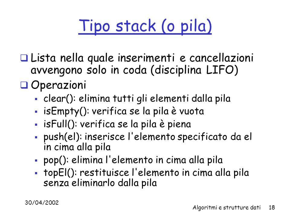 Tipo stack (o pila) Lista nella quale inserimenti e cancellazioni avvengono solo in coda (disciplina LIFO)