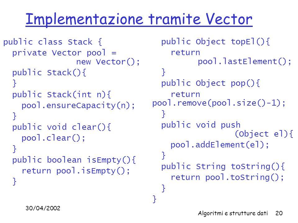 Implementazione tramite Vector