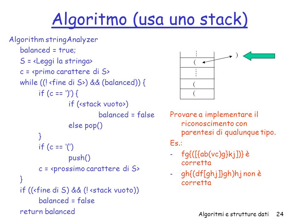 Algoritmo (usa uno stack)