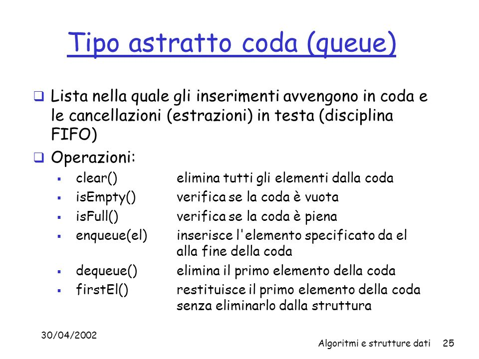 Tipo astratto coda (queue)