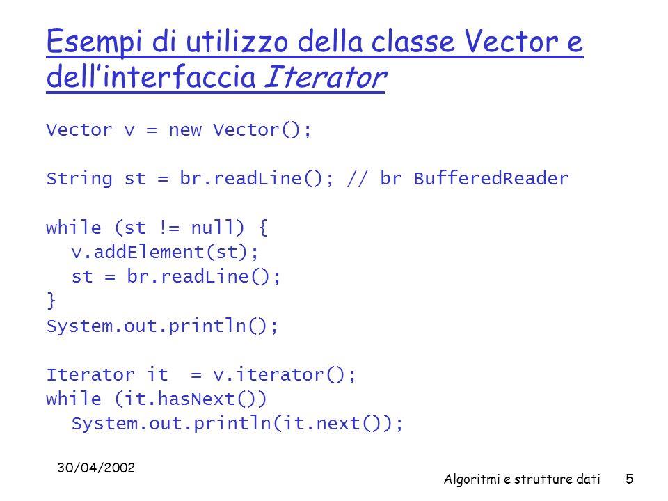 Esempi di utilizzo della classe Vector e dell'interfaccia Iterator