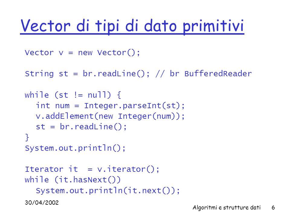 Vector di tipi di dato primitivi