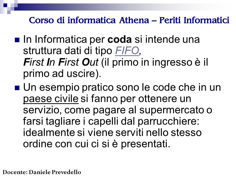 Corso di informatica Athena – Periti Informatici