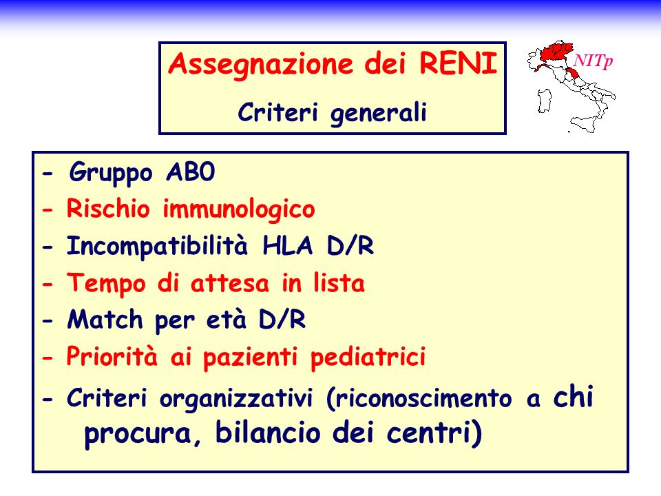 Assegnazione dei RENI Criteri generali - Gruppo AB0