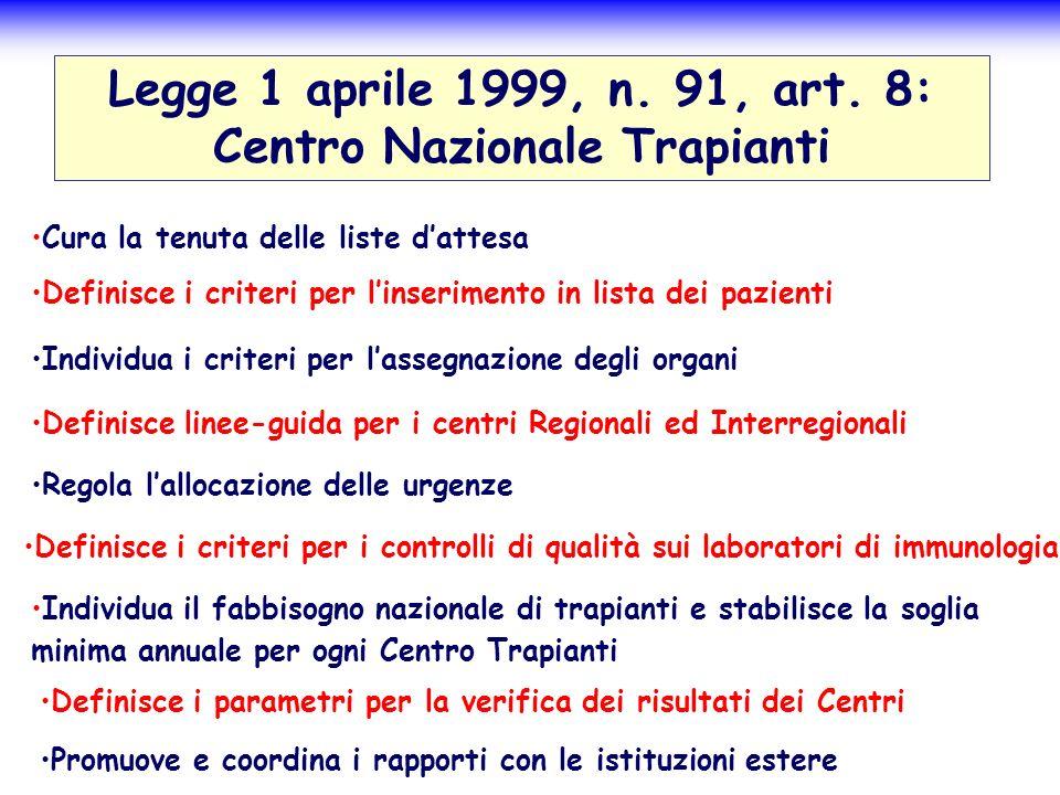 Legge 1 aprile 1999, n. 91, art. 8: Centro Nazionale Trapianti