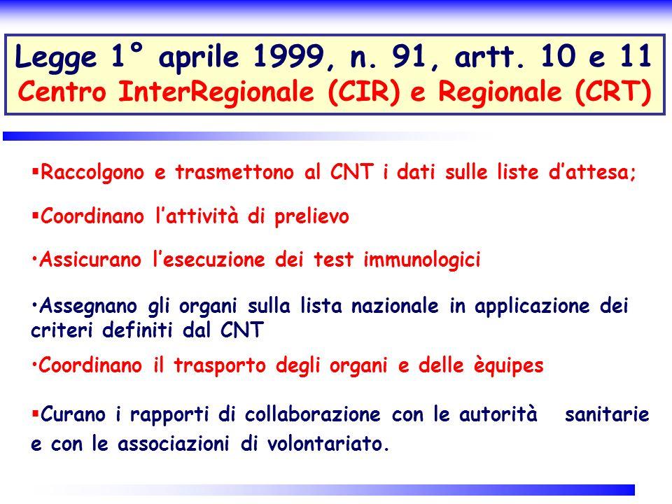 Legge 1° aprile 1999, n. 91, artt. 10 e 11 Centro InterRegionale (CIR) e Regionale (CRT)