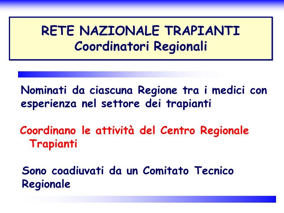 RETE NAZIONALE TRAPIANTI Coordinatori Regionali