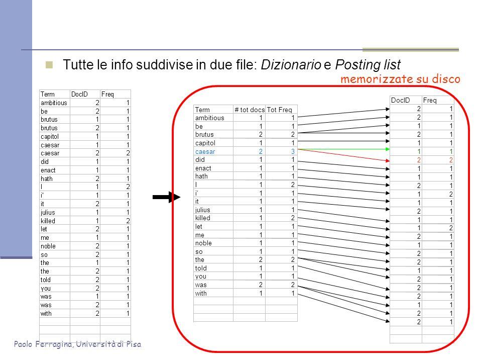 Tutte le info suddivise in due file: Dizionario e Posting list