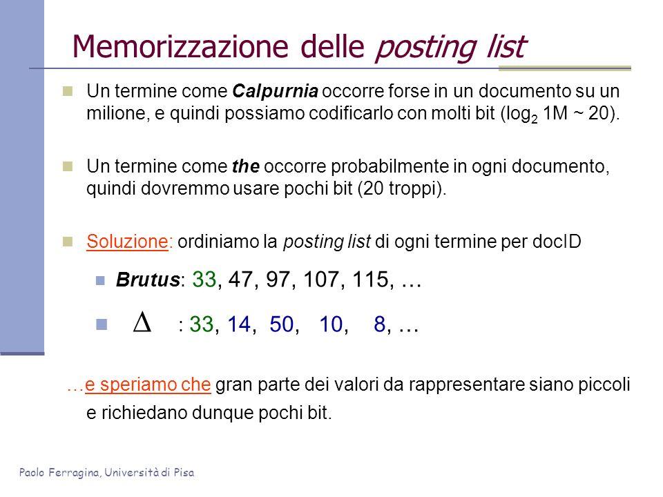 Memorizzazione delle posting list