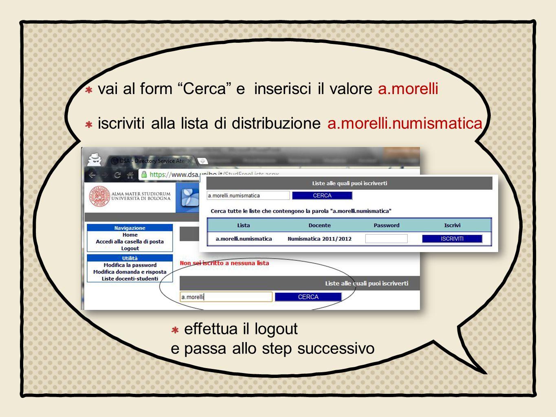 vai al form Cerca e inserisci il valore a.morelli