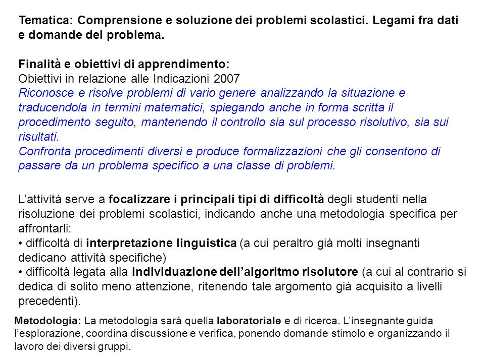 Finalità e obiettivi di apprendimento: