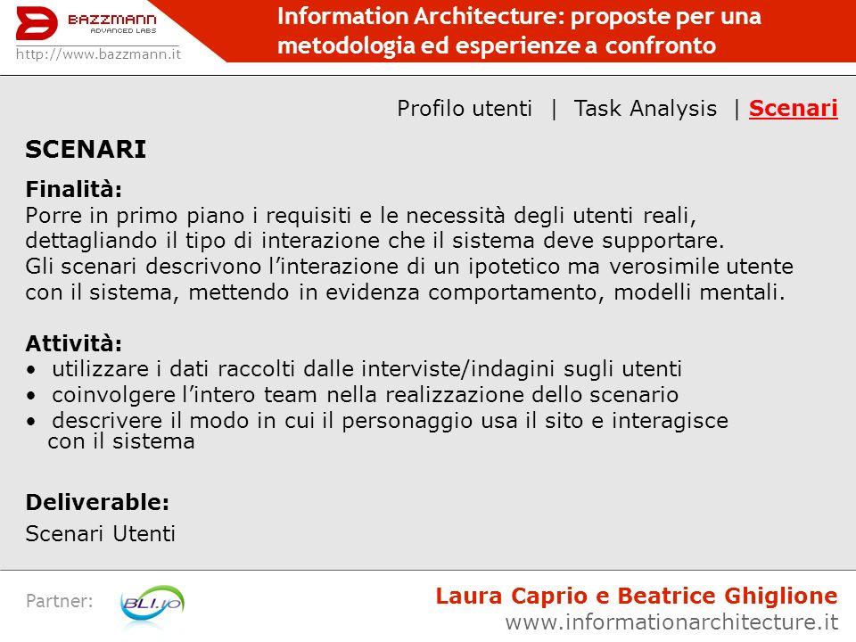 Profilo utenti | Task Analysis | Scenari