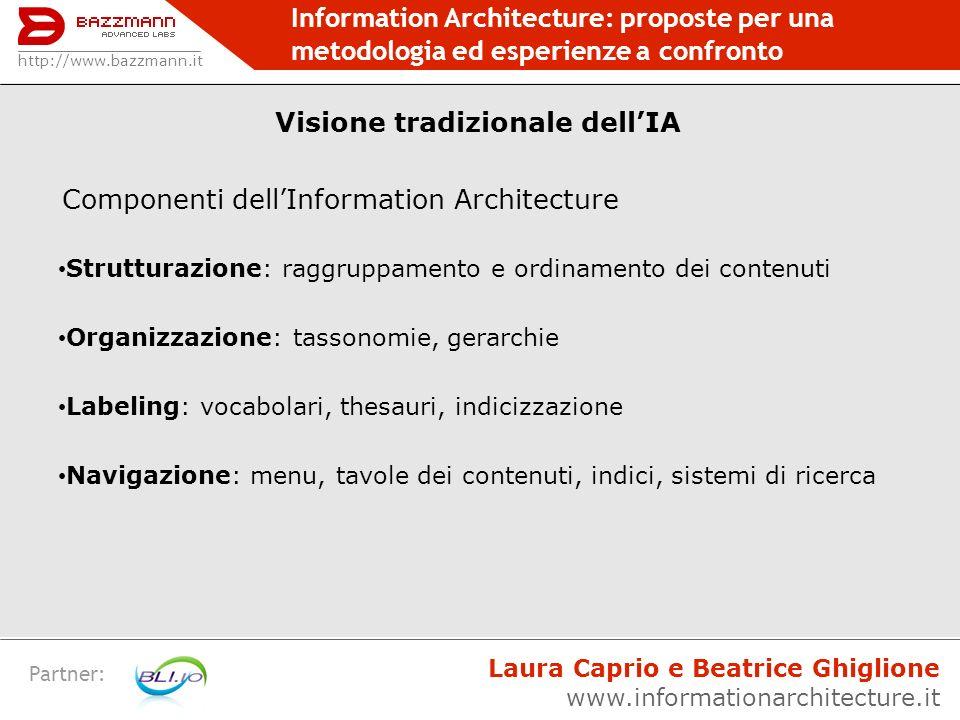 Visione tradizionale dell'IA Componenti dell'Information Architecture