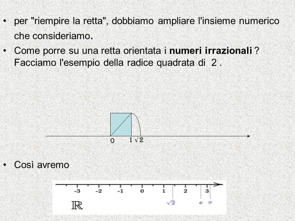 per riempire la retta , dobbiamo ampliare l insieme numerico che consideriamo.