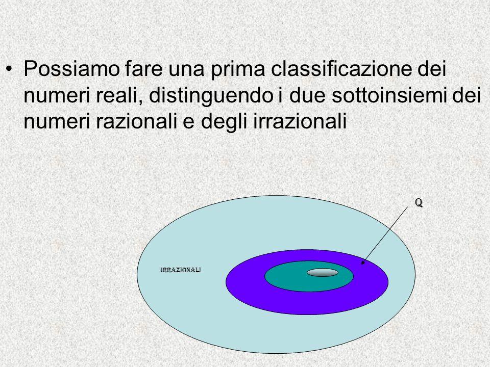Possiamo fare una prima classificazione dei numeri reali, distinguendo i due sottoinsiemi dei numeri razionali e degli irrazionali
