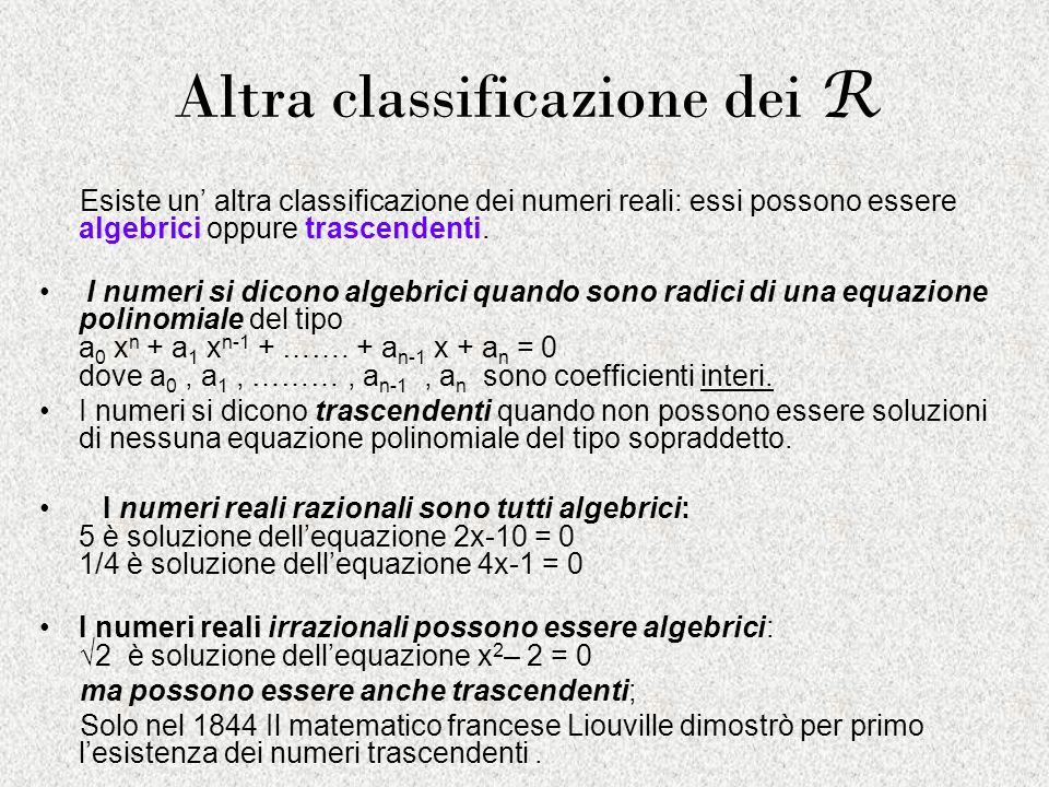 Altra classificazione dei R