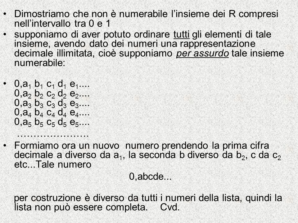 Dimostriamo che non è numerabile l'insieme dei R compresi nell'intervallo tra 0 e 1