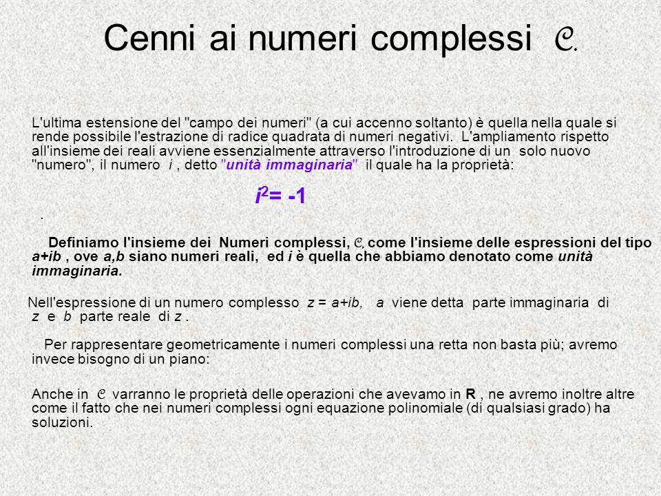 Cenni ai numeri complessi C.
