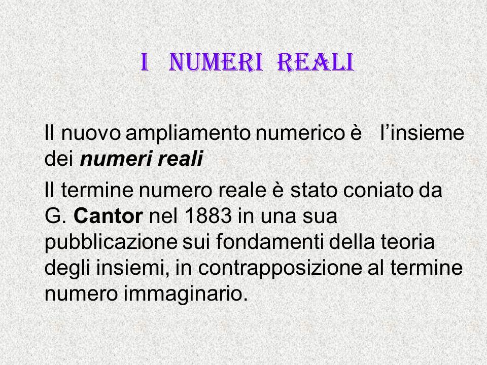 I numeri reali Il nuovo ampliamento numerico è l'insieme dei numeri reali.