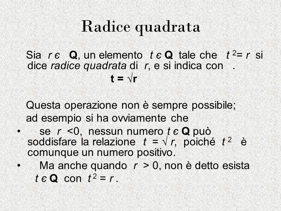 Radice quadrata Sia r є Q, un elemento t є Q tale che t 2= r si dice radice quadrata di r, e si indica con .