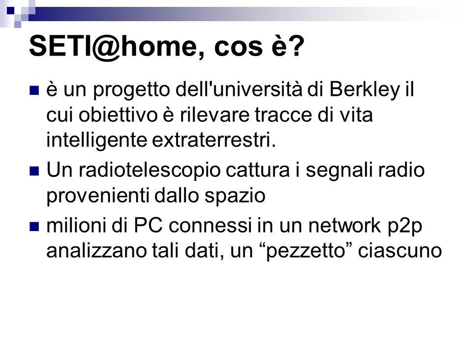 SETI@home, cos è è un progetto dell università di Berkley il cui obiettivo è rilevare tracce di vita intelligente extraterrestri.