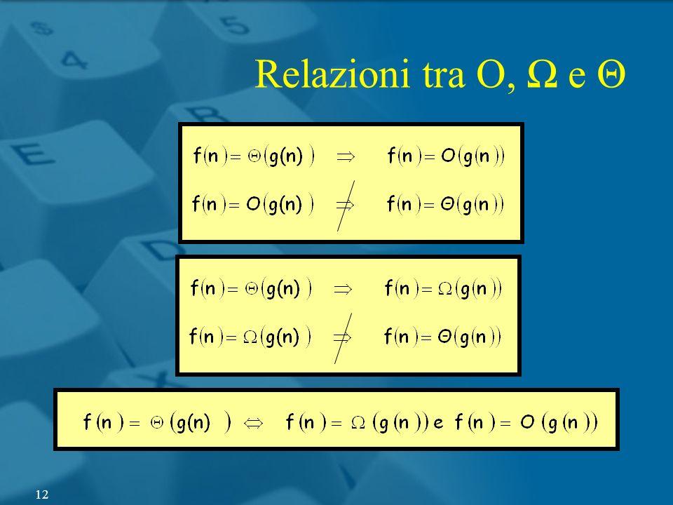 Relazioni tra O, Ω e Θ
