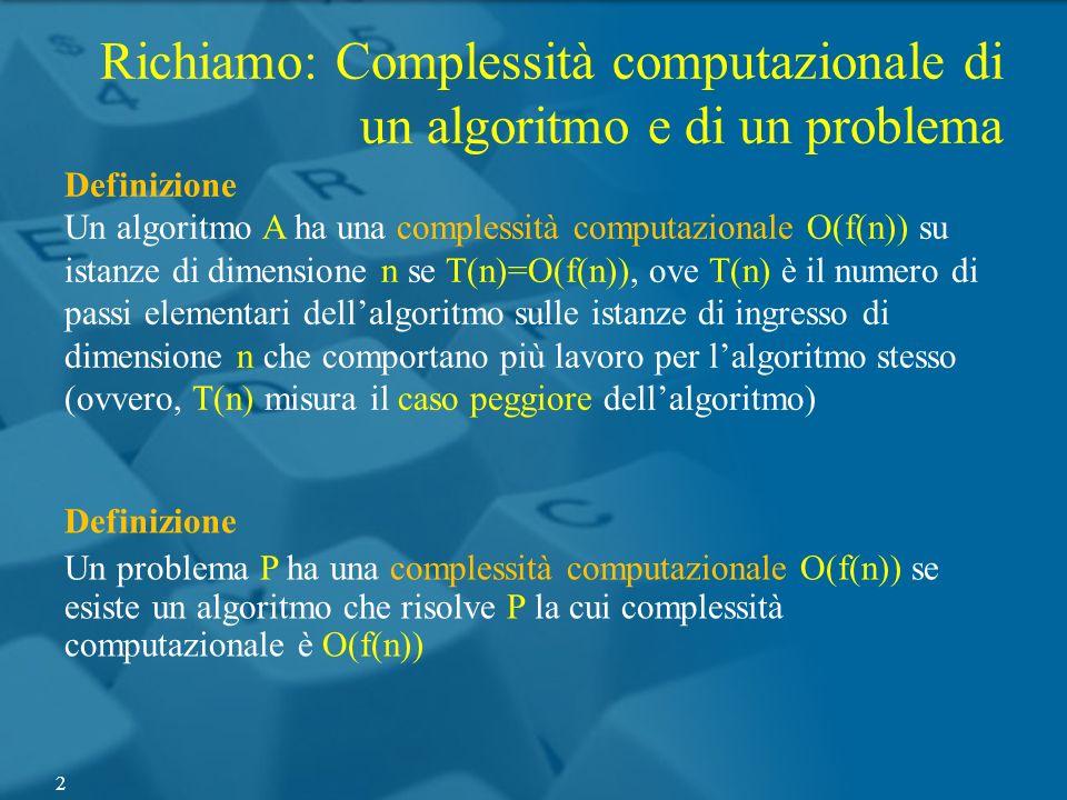 Richiamo: Complessità computazionale di un algoritmo e di un problema