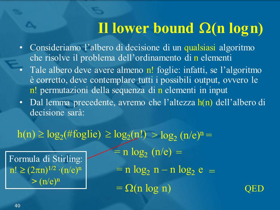 Il lower bound W(n log n)